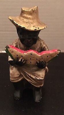 Original Black American Americana Cast Iron Still Bank Watermelon