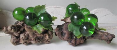~ Vintage 1960's Acrylic Lucite Green Grapes PAIR of Cluster Driftwood ~ Retro!