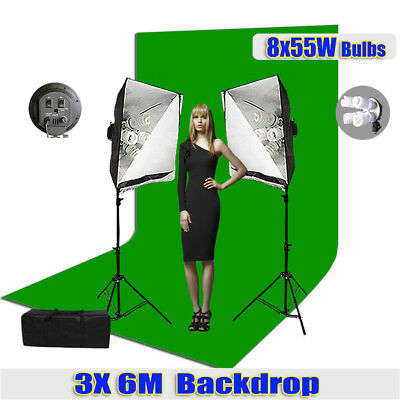 2200W Photo Studio Softbox Continuous Lighting 3x6m Chromakey Green Large Muslin
