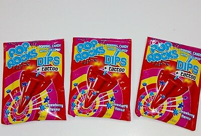 3 x POP ROCKS Popping Candy Dips with lollipop & Tattoo 18g each strawberry Flv