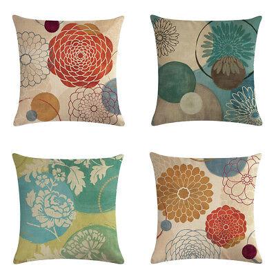 Geometric Flower Cotton Linen Throw Pillow Case Cushion Cover For Home Decor