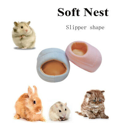 Mini Winter Hamster Pad Bed Nest Plush Slipper Shape Guinea Pig House Cotton