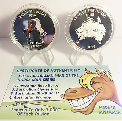 "2014 Year Of The Horse ""Aust Brumby"" 1 Oz Coin C.O.A. LTD 1,000. (No Tin)"