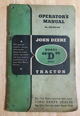 John Deere Model D Series Tractor Operator's  Manual No. OM-RD1-248