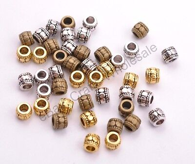 30Pcs Tibetan Silver Charms TUBE Spacer Beads for Bracklets Necklace 7X6MM D3031