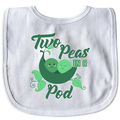 Inktastic Two Peas In A Pod With Faces Baby Bib Children Twins Pea Cute Adorable