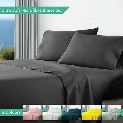 Ultra Soft Microfibre Bed Sheet Sets Flat Fitted Pillow Cases Queen King Double