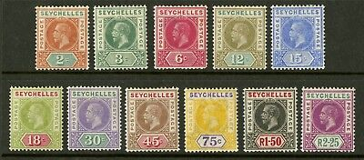 Seychelles  1912  Scott # 63-73  Mint Lightly Hinged to Hinged Set