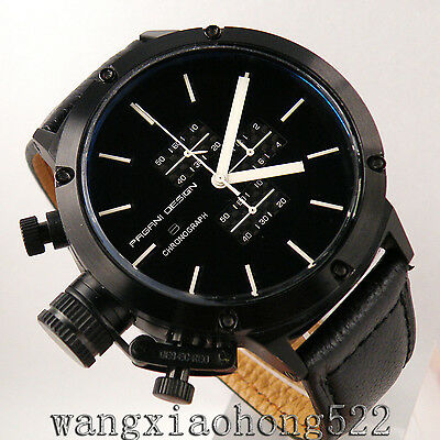 50mm PAGANI Quartz Big Face Full Chronograph Black Dial Datewindow Men WATCH