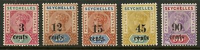 Seychelles  1893  Scott # 22-26  Mint Lightly Hinged to Hinged Set