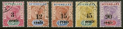 Seychelles  1893  Scott # 22-26  USED Set