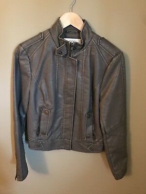 Worn Once! See Thru Soul Leather Jacket, Light Gray, Women's LG* Excellent Cond