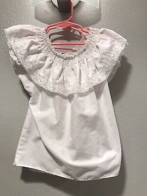 Mexican Style White Lace Peasant Blouses Little Girls' Size 4 Lot Of 2