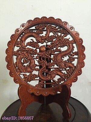 ART! CHINA HAND-CARVED  CAMPHOR WOOD PLATE WALL SCULPTURE《双龙戏珠》With stent
