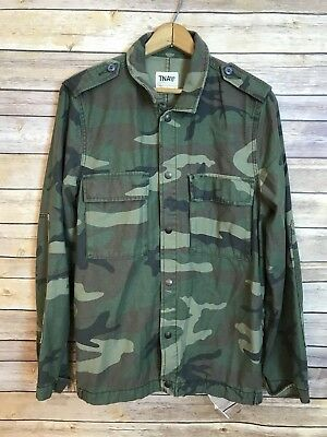 TNA by Aritzia Womens Camouflage Army Print Military Style Jacket Size Large