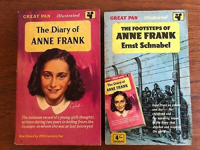 2 x The DIARY OF ANNE FRANK + FOOTSTEPS OF... VINTAGE PAN paperbacks VG