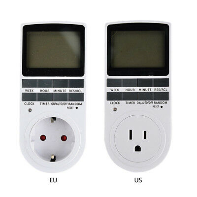 Digital LCD Display 7Day 24Hour Timer Switch Socket EU US Plug-in Programable WH