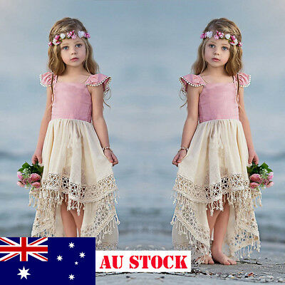 AU Girl Kids Toddler Princess Bridesmaid Birthday Fancy Holiday Sundress Clothes