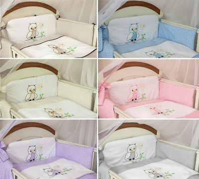 5 Pcs Baby Cot Cot bed Bumper Set Duvet Cover Pillowcase - Owl Embroidery