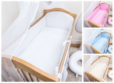 5 Piece Baby Bedding Set Large All Round Long Bumper To Fit Cot Cot Bed - Plain