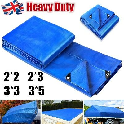 Heavy Duty Tarpaulin Blue Waterproof Strong Cover Ground Sheet Camping Tarp UK