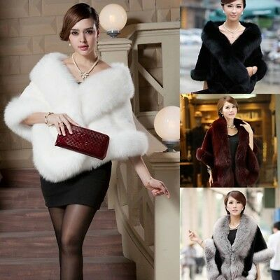 Winter Women Faux Fur Coat Mink Fur Poncho Bridal Wedding Dress Shawl Cape