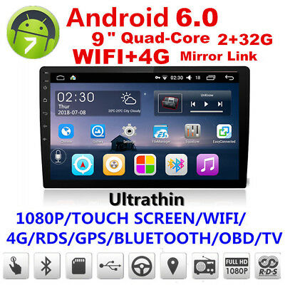 """Android 6.0 9"""" 2Din Touch Screen Quad-Core 2+32G Car Stereo Radio GPS DVD Player"""