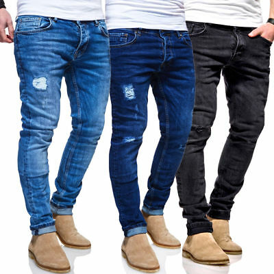 BEHYPE Men/'s Jeans Pants Destroyed with Ripped Knees JN-3702
