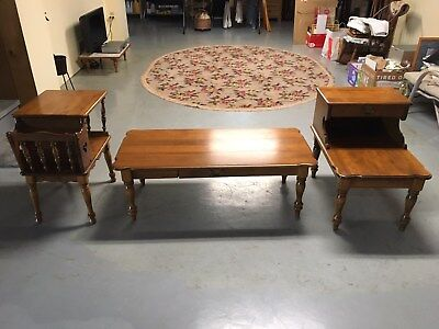 (3) Vintage BAUMRITTER by Ethan Allen MAPLE Tables (Coffee & End)  -  Lot of 3
