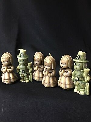 Vintage Gurley Thanksgiving Candles Lot of 2 Pilgrim Boys & 4 Girls