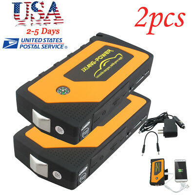 2* Battery Jump Starter 600A Peak Portable Car SUV Charger Booster Jumper Cables