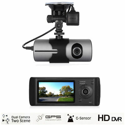"Dual Lens Dash Cam 2.7"" Full HD Car DVR Camera Video Recorder w/ GPS Logger New"