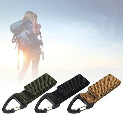 Nylon Tactical Belt Webbing Carabiner Key Holder Bag Hook Buckle Strap Clip NEW