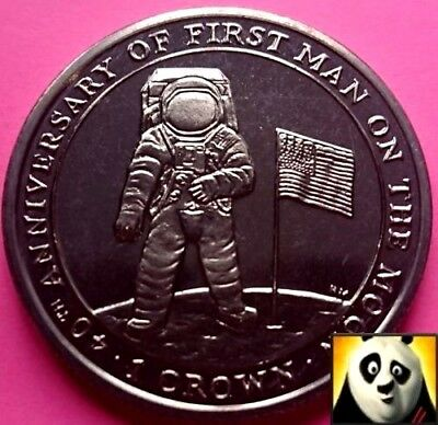 2009 ISLE OF MAN 1 One Crown Moon Landing Neil Armstrong Apollo 11 Unc Coin