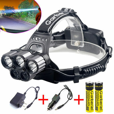 80000lm 5-led Zoom LED Rechargeable 18650 Headlamp Head Light Torch Charger USA