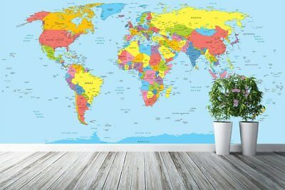 Large World Map Wall Mural Self Adhesive Wallpaper Removable Non Woven WP28