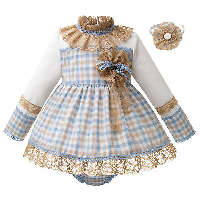 Kids Girls Clothing set Check Outfits Long Sleeve Lace Stand Collar Dress+Shorts