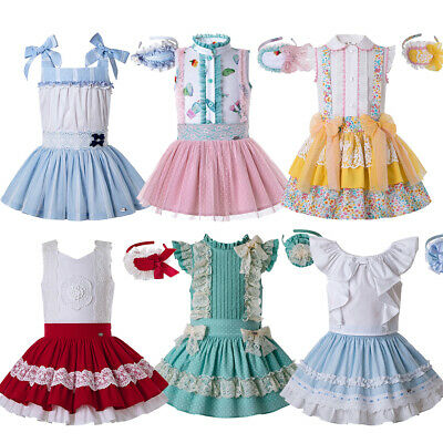 Spanish Flower Girls Blouse Skirt Sets Kids Birthday Party Outfits Summer Lace