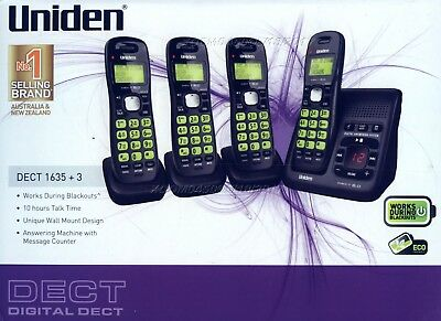 Uniden Dect 1635+3 Cordless Phone 4 Handsets With Digital Answaring Machine Wall