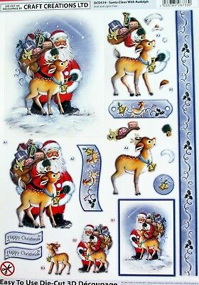"A4 Die Cut 3D Paper Tole Decoupage ""Christmas"" Sheet No Cutting Easy Dcd519"