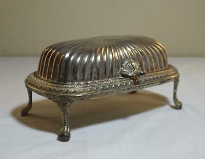 Ribbed Silverplate Footed Butter Dish, Glass Insert, Roll Top Lid, Regal Silver