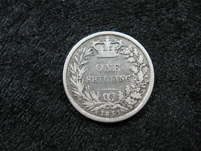 1 old SILVER world foreign coin GREAT BRITAIN shilling 1851 KM734 Queen Victoria