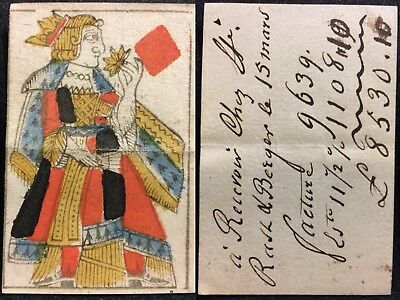 XVIII Century Secondary Use Quill Scripted Bankers Document Playing Cards Single