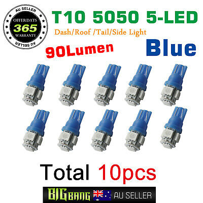 10x T10 LED 5 SMD Blue Car Wedge Dash Tail Side Parking Light Globes 12V - Blue