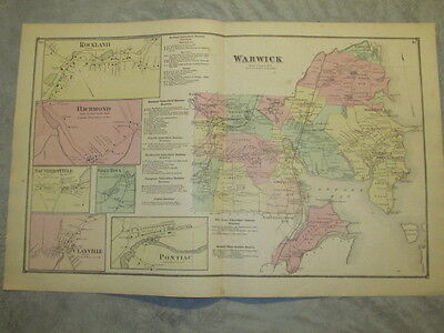 1870 Warwick, Ri. Map That Has Been Removed From The Beer's 1870 Atlas
