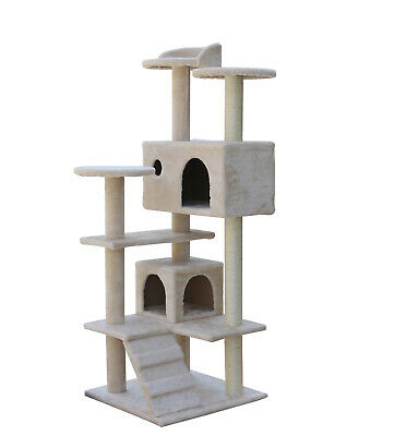 130 cm Beige Cat Tree Scratching Post Scratcher Pole Gym Toy House Furniture