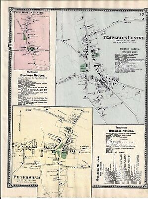 1870 Templeton Center, Ma. Map That Was Removed From The Beers 1870 Atlas