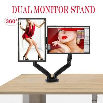 F160 Dual Arm Desktop Mount Monitor LED/LCD Stand Bracket Screen TV Gas Strut