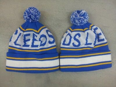 Leeds United Football Bobble Hat Knitted Blue, White & Yellow