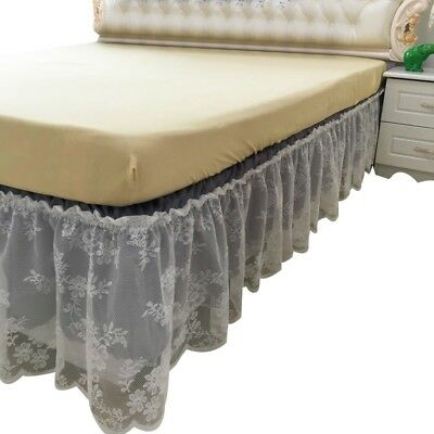 Double Layer Bed Skirt Dust-proof Bed Decoration Frilled Valance Bedspread New